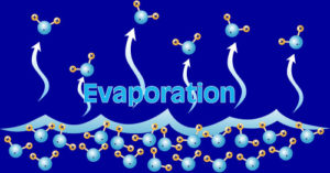 graphic on evaporation of water molecules